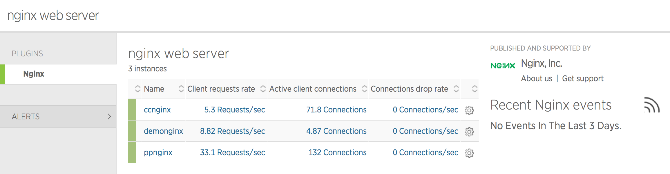 image of NGINX instance in New Relic instances list