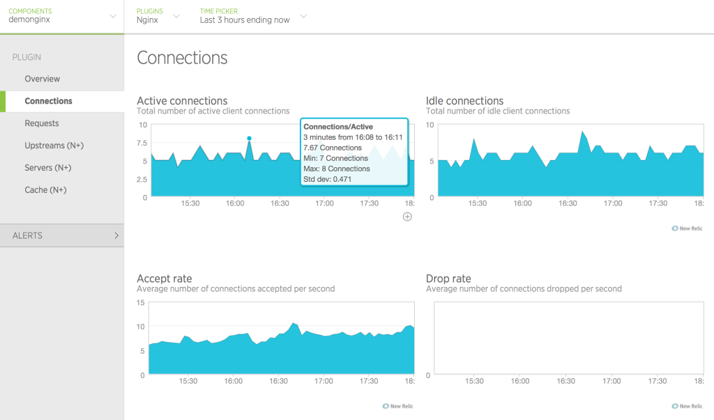 image of Connections tab in New Relic UI
