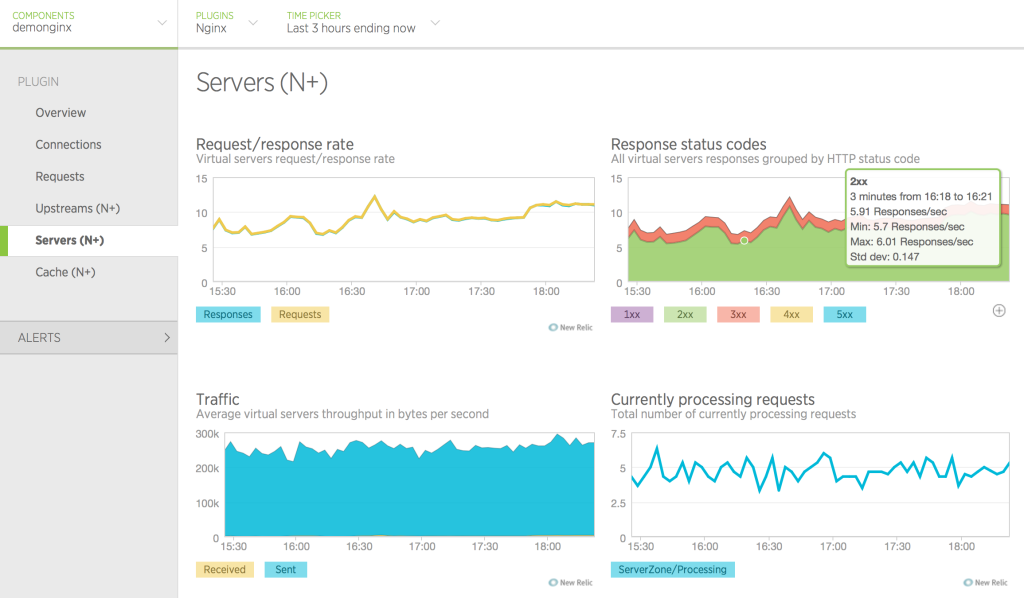 image of Servers tab in New Relic UI