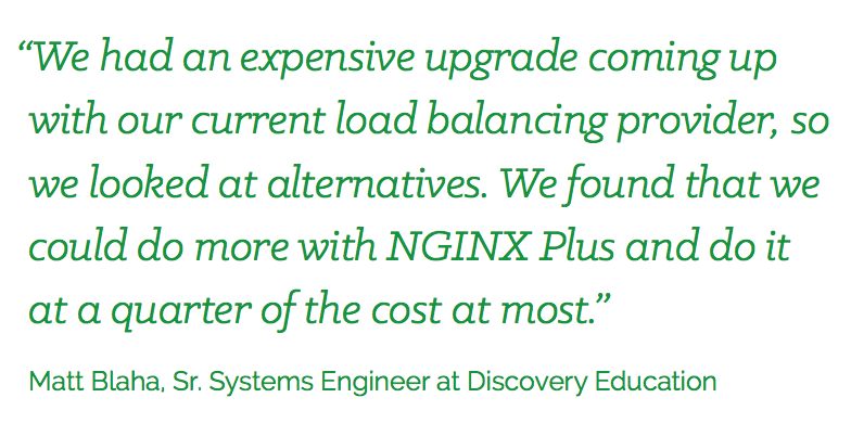 NGINX Load Balancing Quarter of Cost Quote Discovery Education