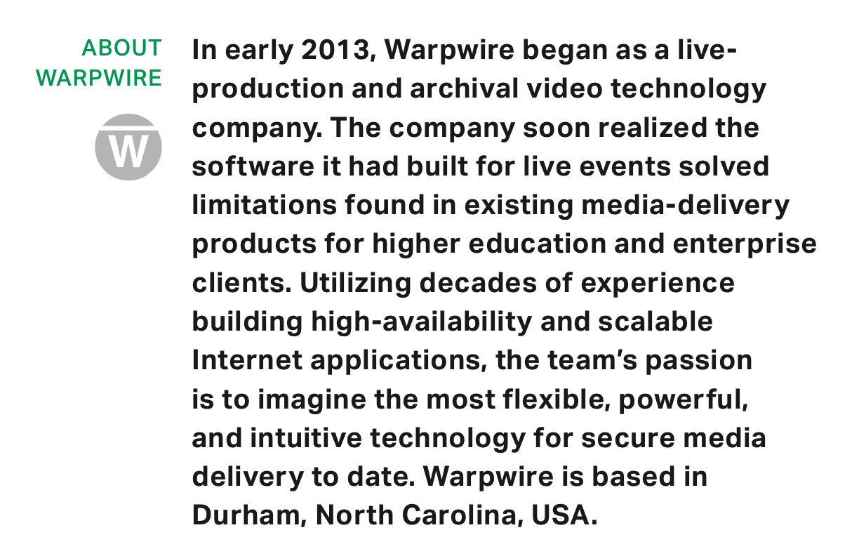 Company description Warpwire for NGINX Plus Video Delivery Case Study