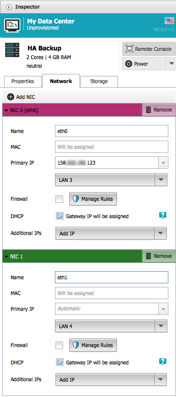 Configure network interfaces for the backup NGINXPlus instance in ProfitBricks