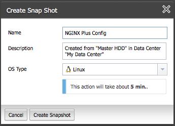 Create a snapshot of the master NGINXPlus instance in ProfitBricks