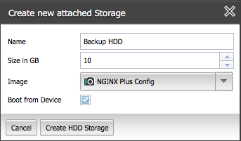 Allocate storage for the backup NGINXPlus instance in ProfitBricks