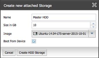 Allocate storage for the master NGINXPlus instance in ProfitBricks