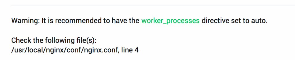 NGINX Amplify suggests making changes to the worker_processes directive