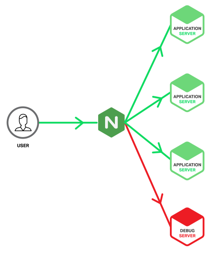 A reverse proxy server, such as the NGINX reverse proxy server, spreads traffic and enables flexibility