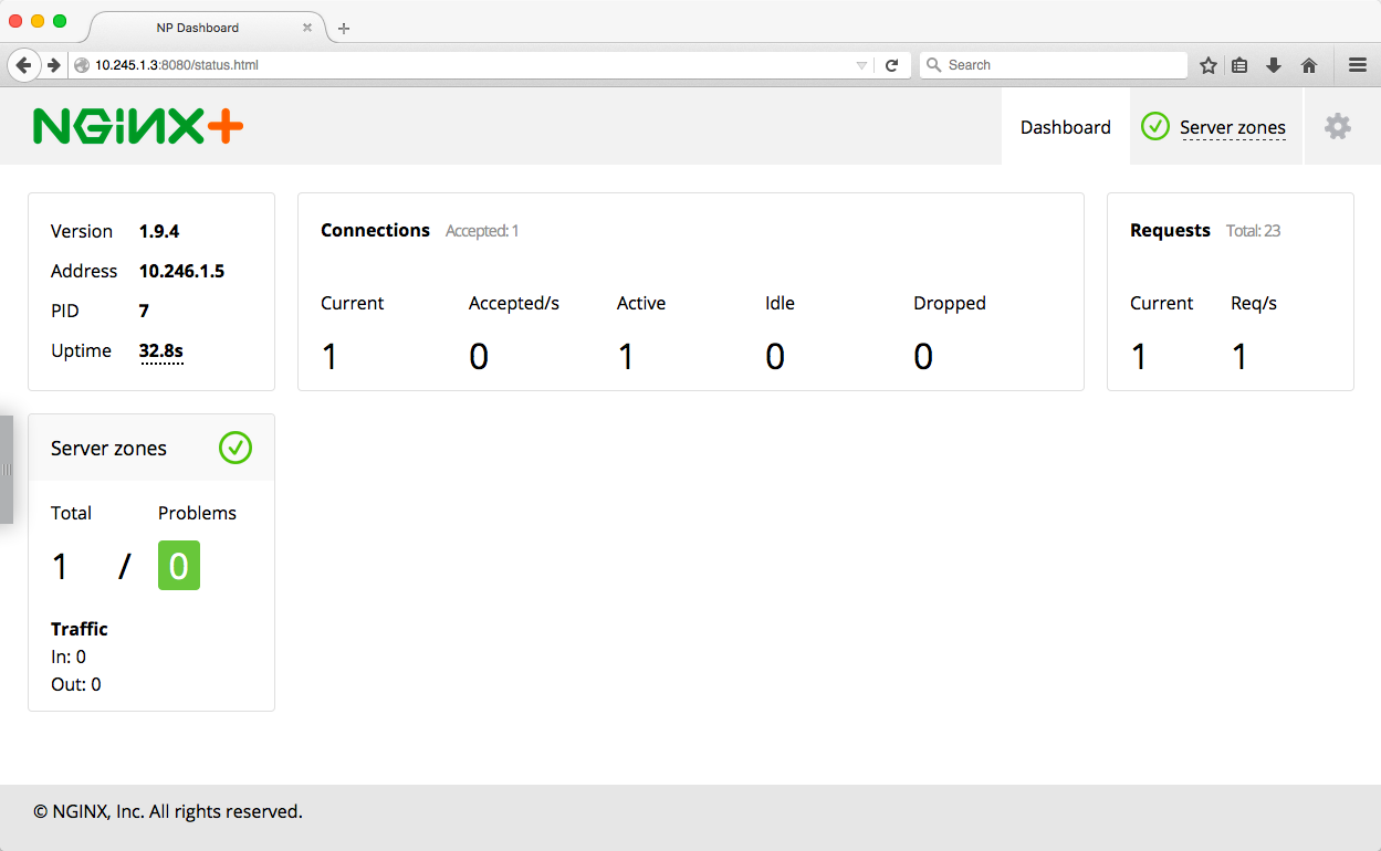 The NGINX Plus live activity monitoring dashboard before we create the Kubernetes services