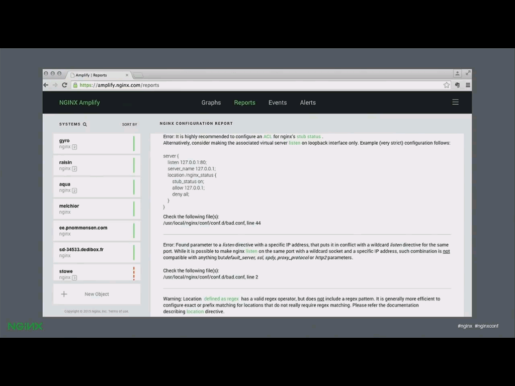 NGINX's SaaS monitoring tool, NGINX Amplify, detects configuration errors and provides suggestions for greater efficiency