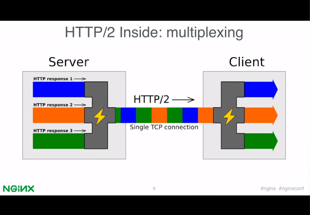 HTTP/2 multiplexes requests and responses over a single connection [presentation by Valentin Bartenev, core NGINX developer, at nginx.conf 2015]