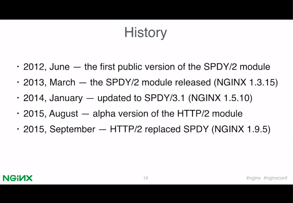 Slide outlining the history of support for SPDY and HTTP/2 in NGINX releases [presentation by Valentin Bartenev, core NGINX developer, at nginx.conf 2015]