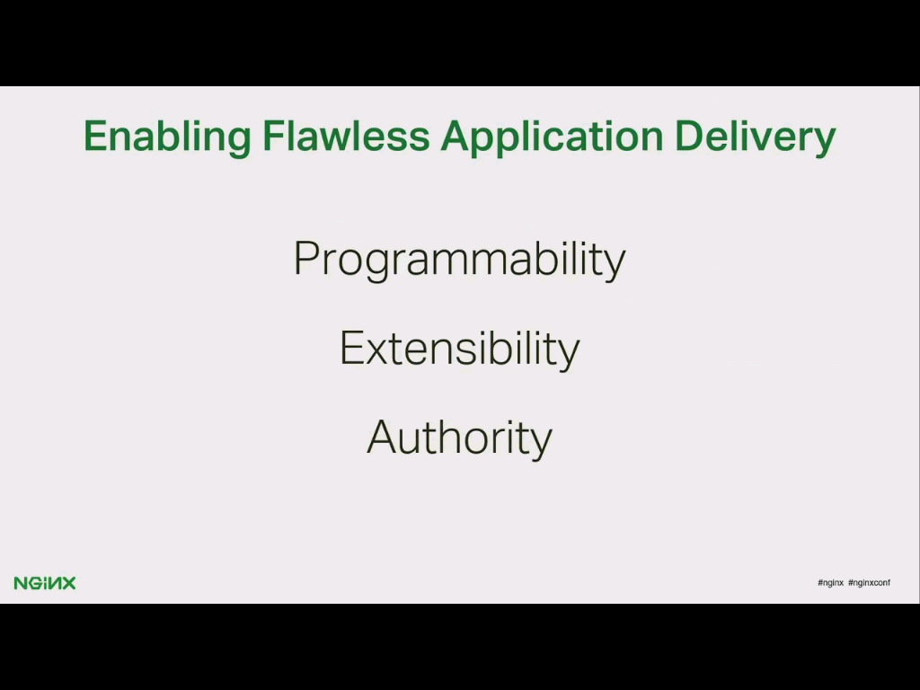 NGINX and NGINX Plus provide the programmability, extensibility, and authority required for flawless application delivery
