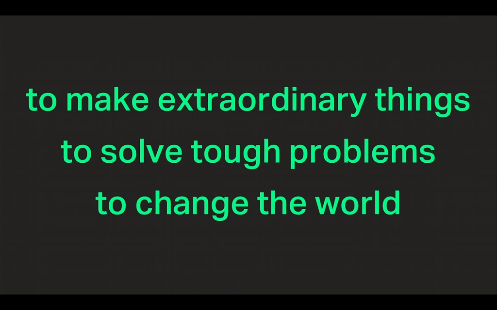 "For application delivery, slide reads ""to make extraordinary things, to solve tough problems, to change the world"" [presentation by Gus Robertson, CEO of NGINX, Inc., at nginx.conf 2015]"
