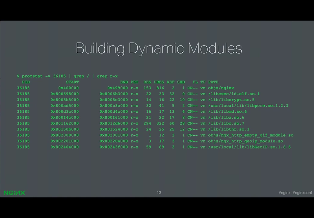 Screen trace shows the order in which binary objects are loaded in a prototype of dynamic modules [presentation by Ruslan Ermilov, developer of dynamic modules at NGINX, Inc., at nginx.conf 2015]