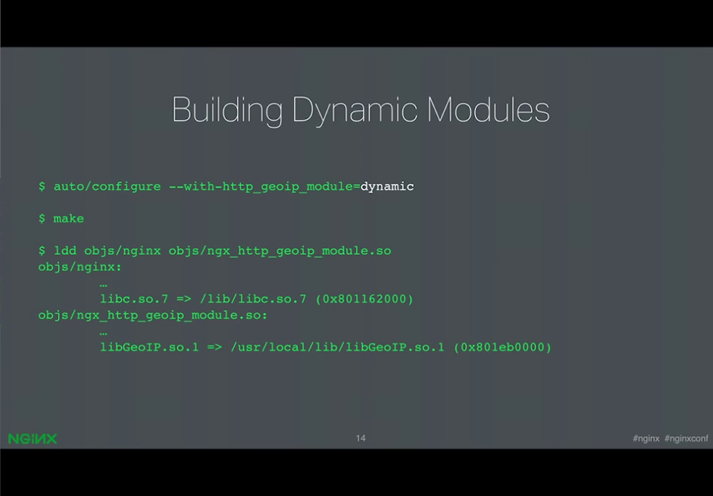 Screen trace showing the build of the dynamically loadable GeoIP module [presentation by Ruslan Ermilov, developer of dynamic modules at NGINX, Inc., at nginx.conf 2015]
