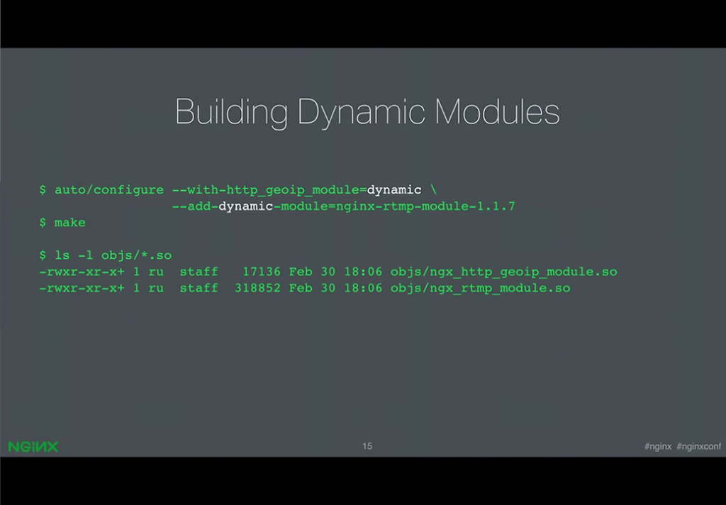 Syntax for building a dynamically loadable third-party module [presentation by Ruslan Ermilov, developer of dynamic modules at NGINX, Inc., at nginx.conf 2015]