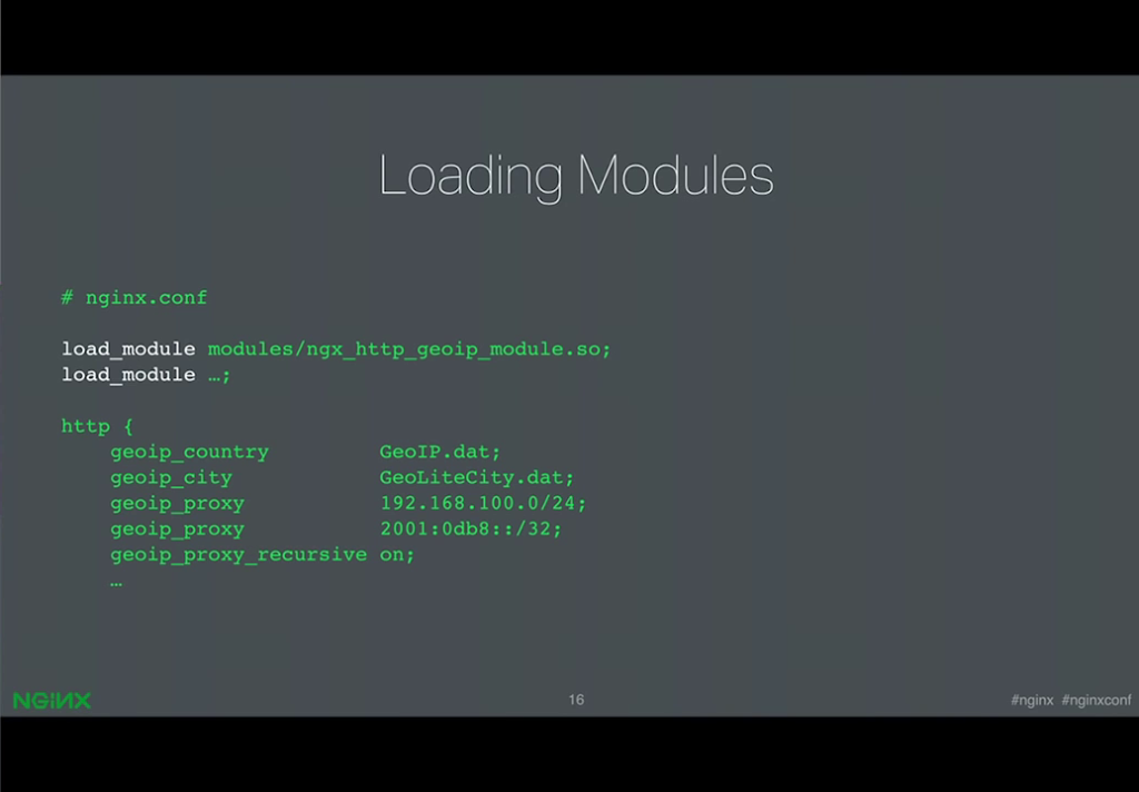 The new load_module directive in the NGINX configuration file names each module to be loaded dynamically [presentation by Ruslan Ermilov, developer of dynamic modules at NGINX, Inc., at nginx.conf 2015]