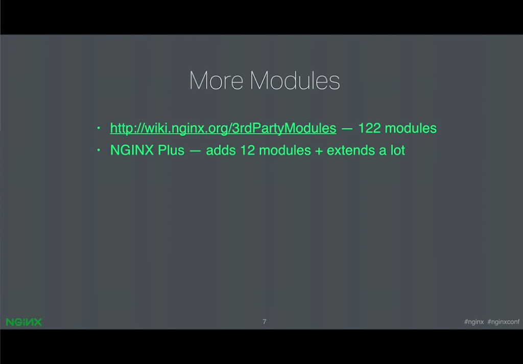 Third-party developers provide more than 120 modules; NGINX Plus has 12 exclusive modules and extends many others [presentation by Ruslan Ermilov, developer of dynamic modules at NGINX, Inc., at nginx.conf 2015]