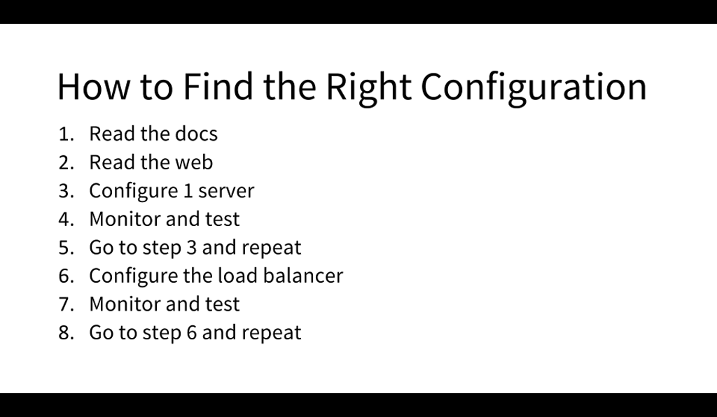 Finding the right configuration for your NGINX servers is an iterative process of learning about NGINX, deploying a server and monitoring it, setting up load balancing and monitoring it, and so on [presentation by Matt Williams of Datadog at nginx.conf 2015]