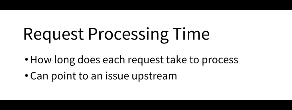 An important metric to monitor is request processing time; an increase above the average can indicate an upstream problem [presentation by Matt Williams of Datadog at nginx.conf 2015]