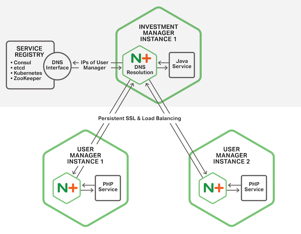 In the Fabric Model of the NGINX Microservices Reference Architecture, an NGINX Plus instance load balances requests from its colocated microservice across the microservice instances in other containers that provide the requested service