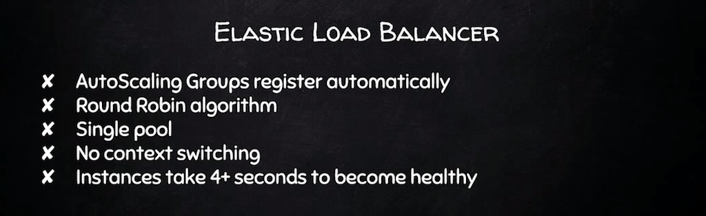 Elastic Load Balancer provides dynamic load balancing, but has only one server pool, and no context switching; it can take 4 seconds for an instance to accept traffic [presentation by Derek DeJonghe of RightBrain Networks at nginx.conf 2015]