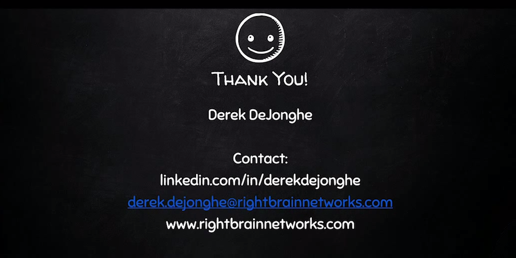 Slide with contact information for presenter [presentation by Derek DeJonghe of RightBrain Networks at nginx.conf 2015]