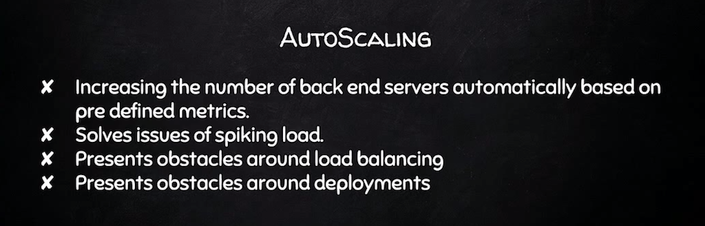 Autoscaling means adjusting the number of backend servers automatically to match demand [presentation by Derek DeJonghe of RightBrain Networks at nginx.conf 2015]