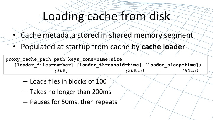 NGINX loads the cache from disk in blocks of 100 files at a time, taking no longer than 200 ms, and pausing for 50 ms before repeating [webinar by Owen Garrett of NGINX]
