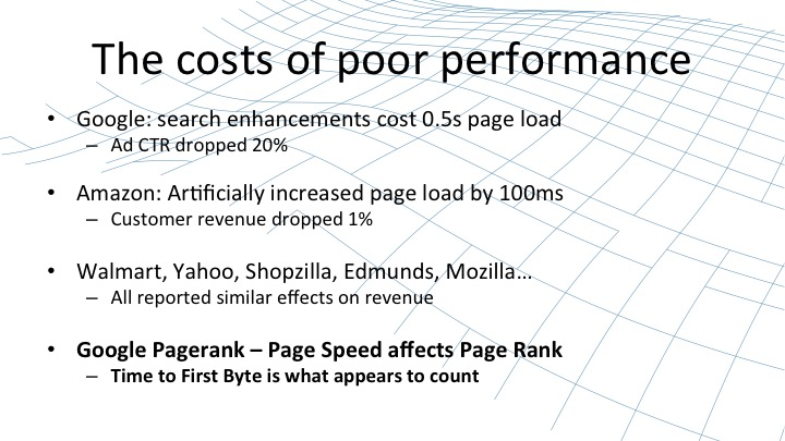 The Costs of poor performance, including test that Google, Amazon, and many others did to look at how page speed affects revenue [webinar by Owen Garrett of NGINX]