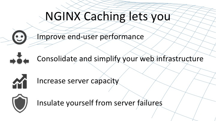 NGINX lets you Improve end-user performance, consolidate and simplify your web infrastructure, increase server capacity, and insulate yourself from server failures [webinar by Owen Garrett of NGINX]