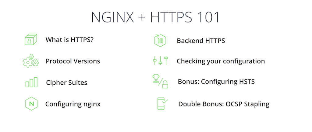 Slide listing the topics to be covered in the presentation about HTTPS and NGINX by Nick Sullivan of CloudFlare at nginx.conf 2015