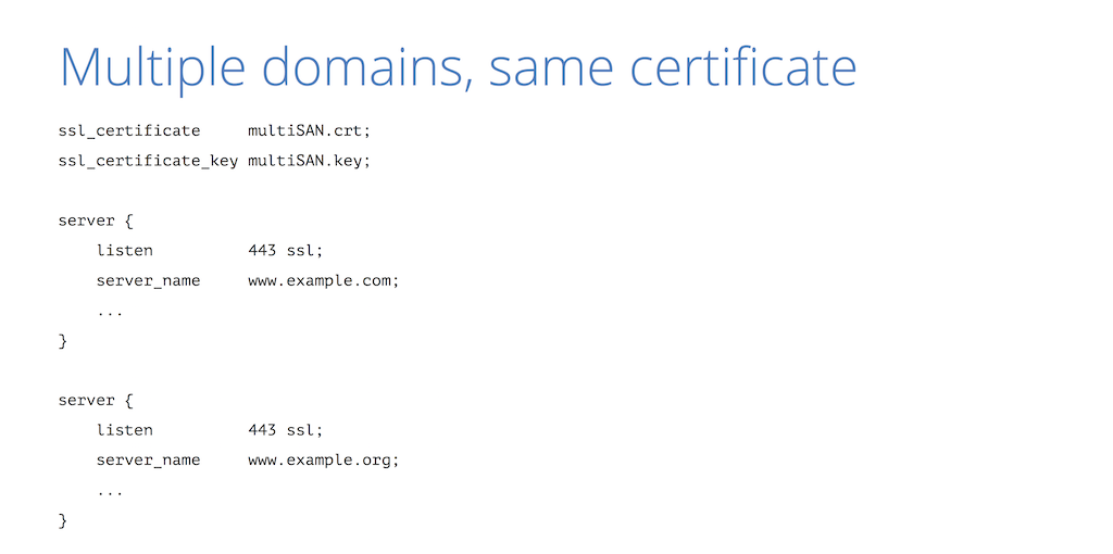 It is possible to use the same certificate for multiple domains, such as both example.com and example.org [presentation by Nick Sullivan of CloudFlare at nginx.conf 2015]