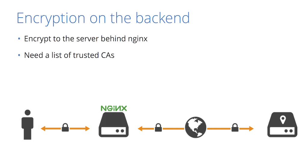 Backend encryption means using SSL/TLS to protect traffic between NGINX and backend servers [presentation by Nick Sullivan of CloudFlare at nginx.conf 2015]