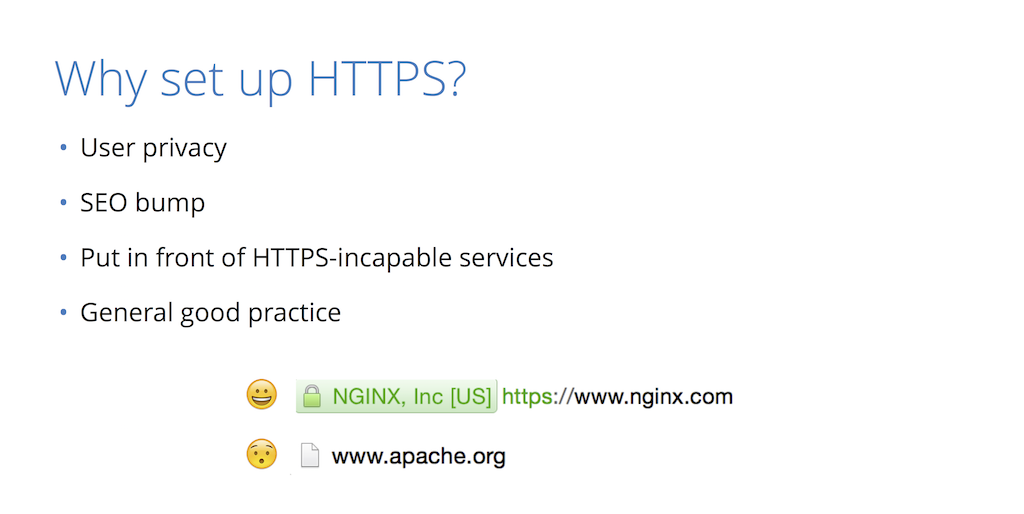 Reasons to set up HTTPS with NGINX include user privacy, improved SEO rankings, protection of services that can't handle encryption, and as a general good practice [presentation by Nick Sullivan of CloudFlare at nginx.conf 2015]