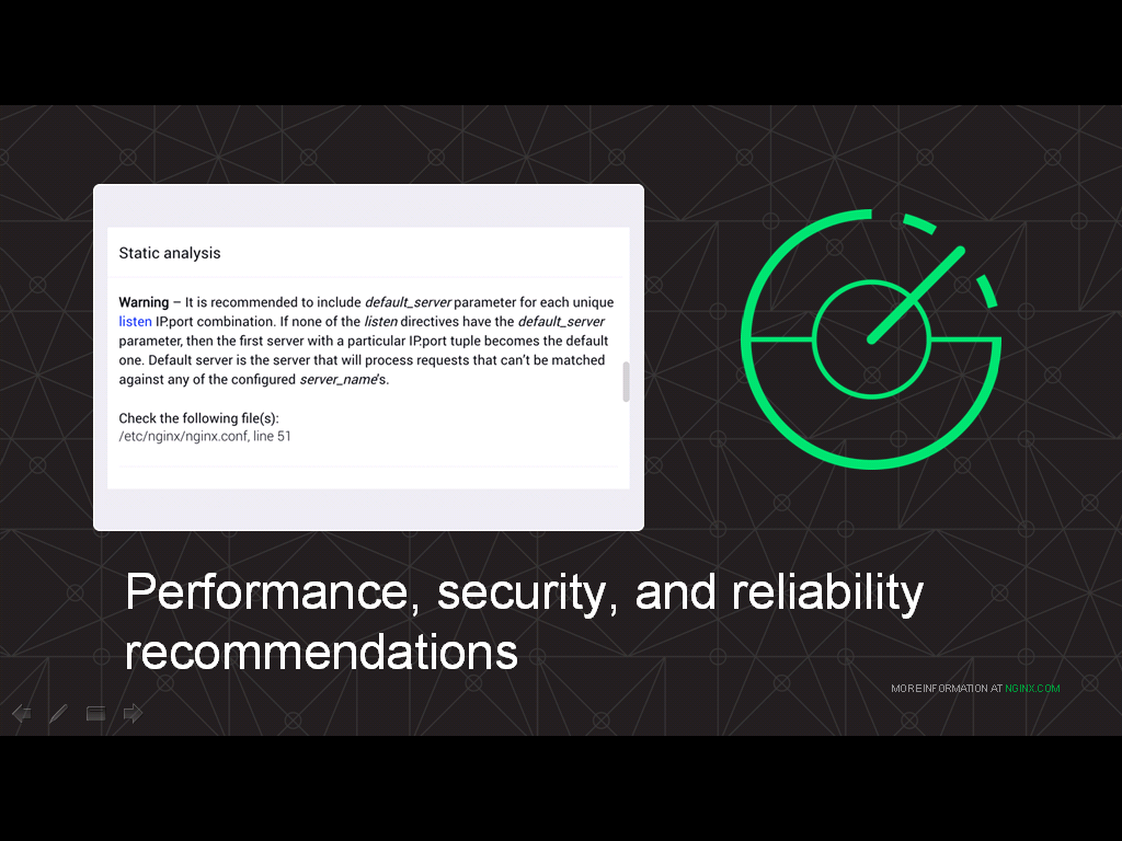 NGINX Amplify not only monitors NGINX in real time, it analyzes your configuration and recommends change to improve performance, security, and reliability