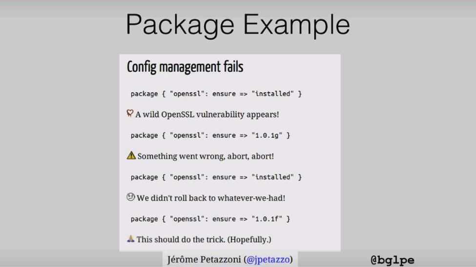 Slide depicting the bad consquences of not being able to rollback to a previous state when an update fails [presentation by John Willis, Director of Ecosystem Development at Docker, at nginx.conf 2015]