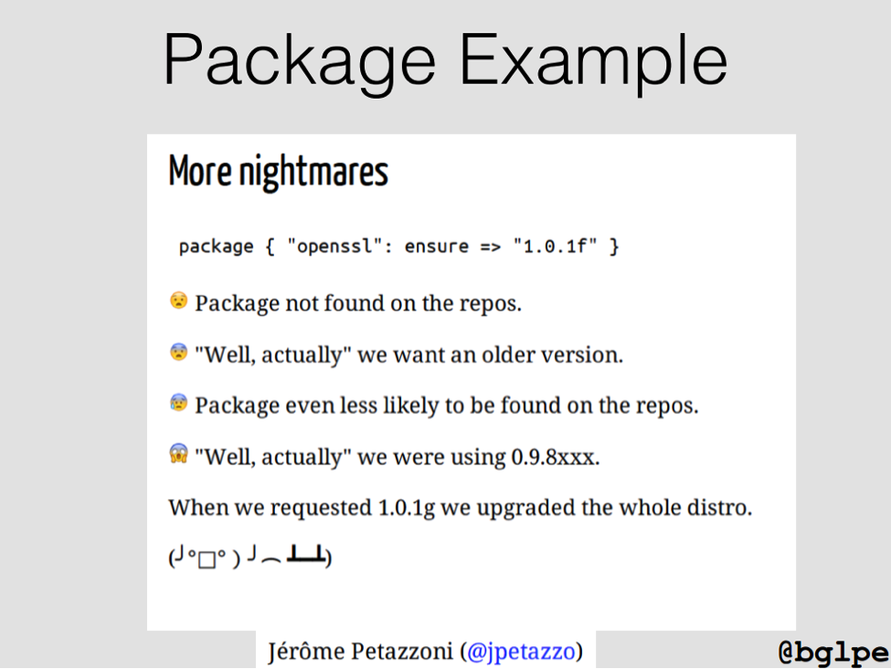 Slide describes problems resulting from not maintaining older versions of packages in case rollback is necessary [presentation by John Willis, Director of Ecosystem Development at Docker, at nginx.conf 2015]
