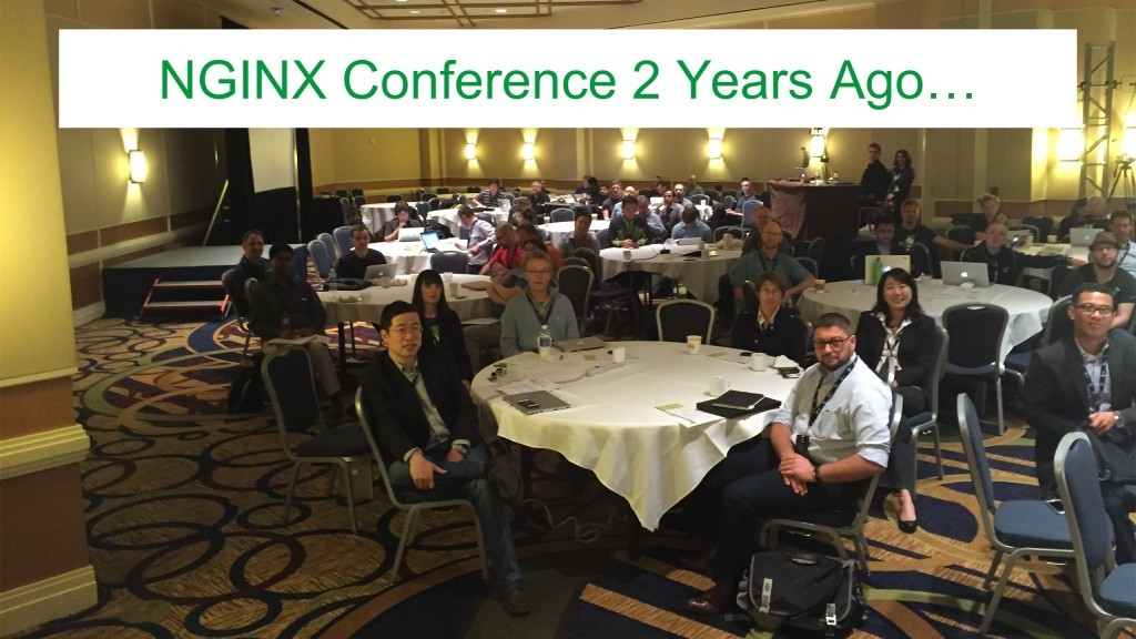 Photo of attendees at the first nginx.conf, in October 2014 [keynote presentation by NGINX Head of Products Owen Garrett at nginx.conf2016]