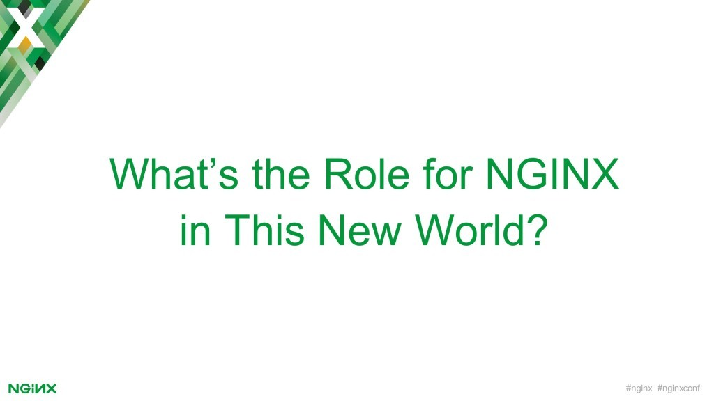 Section title slide reading 'What's the role for NGINX in this new world?' [keynote presentation by NGINX Head of Products Owen Garrett at nginx.conf2016]