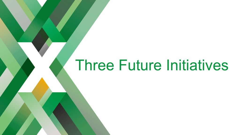 Section title slide reading 'Three Future Initiatives' [keynote presentation by NGINX Head of Products Owen Garrett at nginx.conf2016]