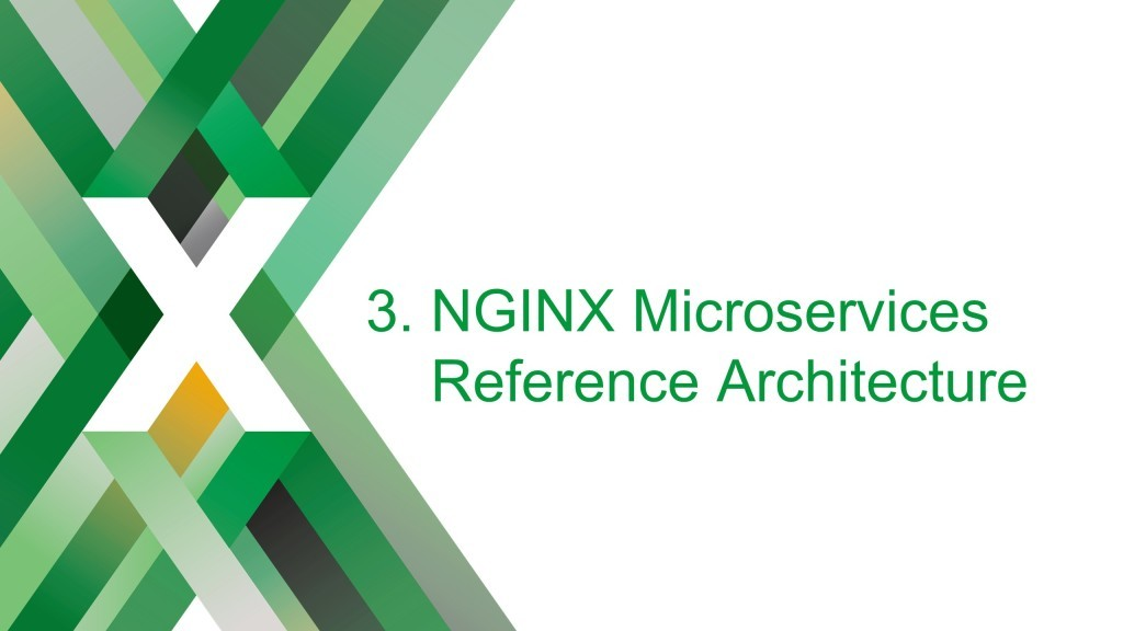 Section title slide reading 'NGINX Microservices Reference Architecture' [keynote presentation by NGINX Head of Products Owen Garrett at nginx.conf2016]