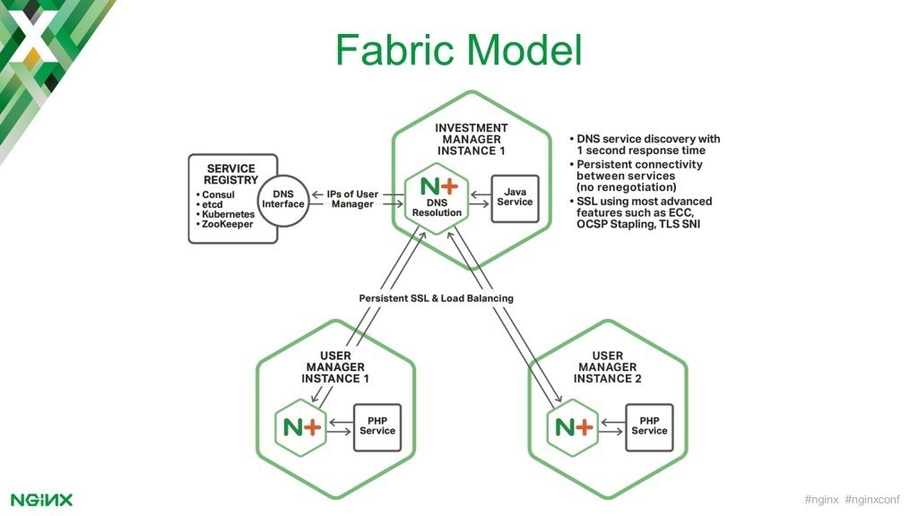 In the Fabric Model of the NGINX Microservices Reference Architecture, NGINX Plus performs DNS service discovery, and provides persistent and SSL/TLS-secured connectivity between service instances [keynote presentation by NGINX Head of Products Owen Garrett at nginx.conf2016]
