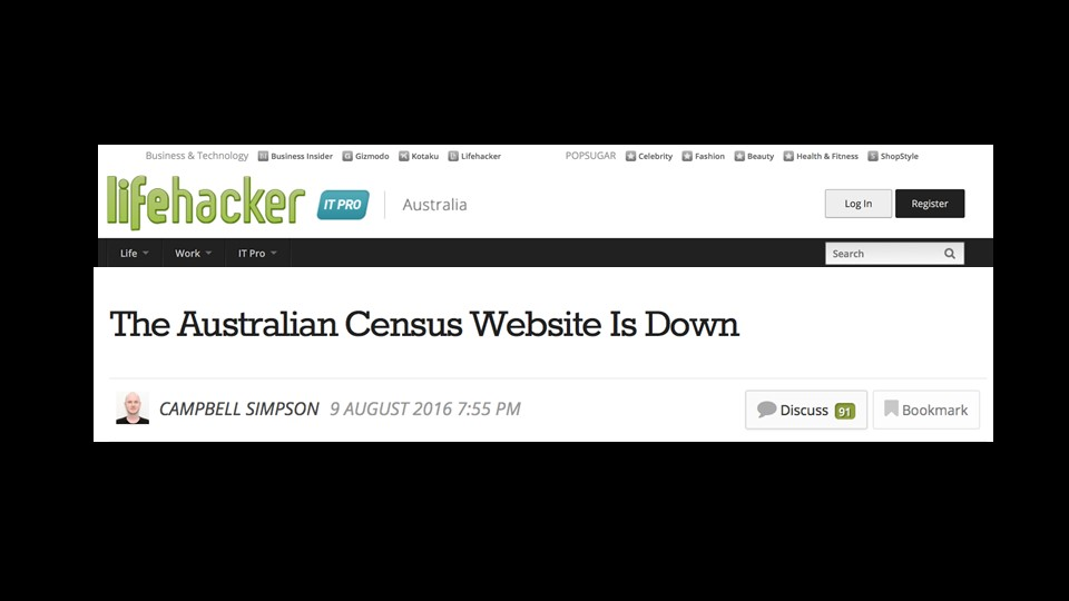 Australian Census Website Shuts down [presentation by Gus Robertson of NGINX at nginx.conf 2016]