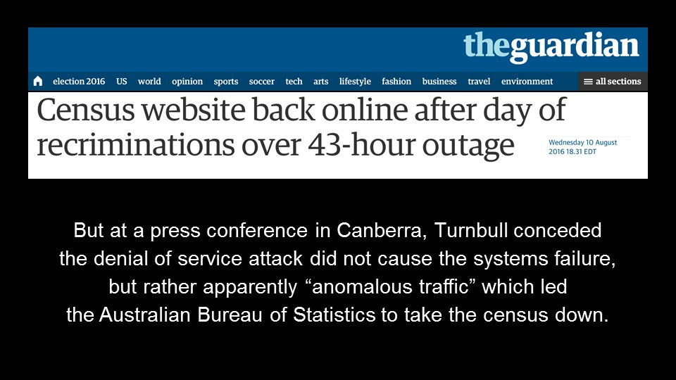 Australian census website down for 43 hours [presentation by Gus Robertson of NGINX at nginx.conf 2016]