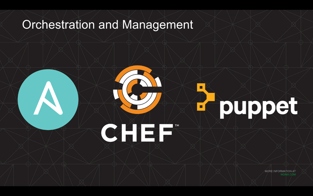 Combining Chef and NGINX, Puppet and NGINX, and Ansible and NGINX uses some of the more popular DevOps tools to achieve application deployment automation.