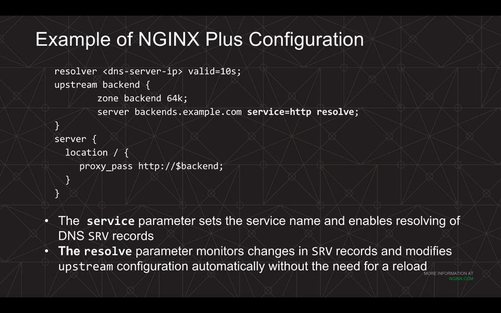Webinar - 3 Ways to Automate - Slide 18 - Example of NGINX Plus Config