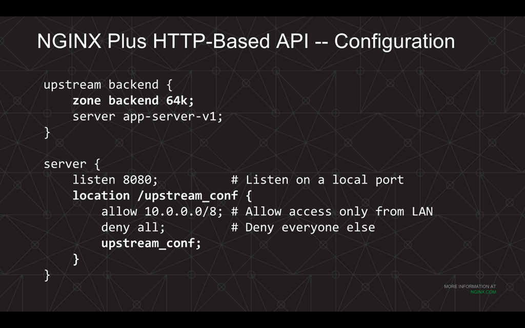Webinar - 3 Ways to Automate - Slide 6 - NGINX Plus HTTP API configuration
