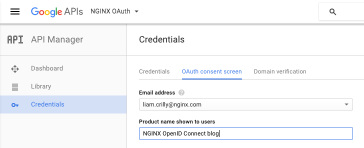 When creating a Google OAuth 2.0 client ID, specify your email address and the product name on the 'OAuth consent screen' under API Manager > Credentials.