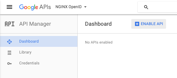 When creating a Google OAuth 2.0 client ID, while on the API Manager Dashboard screen click the ENABLE API button.